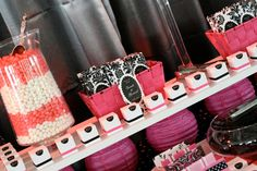 Hot pink, white, and black candy bar