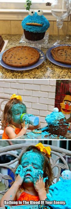 """I love how in the middle picture Bert looks like he's just looking at her with horror... """"What have you done to Cookie Monster?!"""""""
