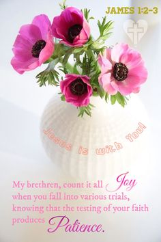 My brethren, count it all joy when you fall into various trials, knowing that the testing of your faith produces patience. [ [James Count it all joy. Book Of James, James 1, Christ In Me, Jesus Christ, Bible Verses Quotes, Scriptures, Creator Of The Universe, Lord Is My Strength, God Help Me