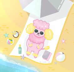Vector Art of Tulip the Poodle, enjoying the day on the beach! (Instagram: @szanilee)