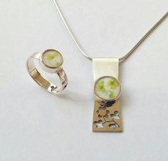 Erna FloPSi Ring Pendant Silver Gold Porselain