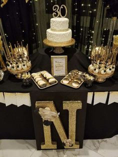 30th Gold And Black Themed Birthday Party Themes Chanel