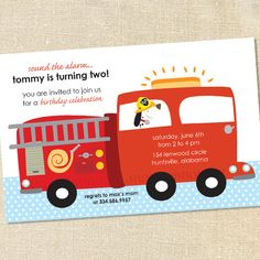 Boy's Fireman & Firetruck Invitations for Birthdays by Sweet Wishes Stationery