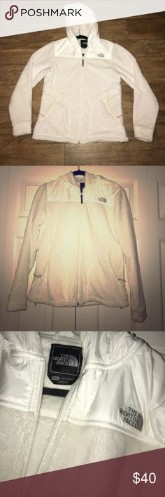 Fuzzy White The North Face Jacket w/Hood Fuzzy white Northface Jacket. Women's size Medium. Lightly worn. Well kept. Can cinch inside. Has a hood. White zippers. Pockets in front. White fuzz with rain jacket-like material on hood and lining top. Great for winter! The North Face Jackets & Coats
