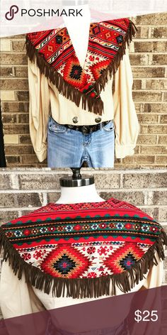 •Vintage Western Jacket• This one of a kind western top can be worn as a top or jacket. It does have shoulder pads that can be removed if needed. Perfect for the rodeos. BANJO Tops Tees - Long Sleeve