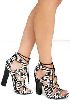 Nice!!!  Be different in a pair of Pros and Kahns Black Print Lace-Up Heels at Lulus.com!/affiliate