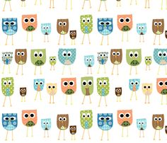 multi_owls_-_white_background fabric by petunias on Spoonflower - custom fabric