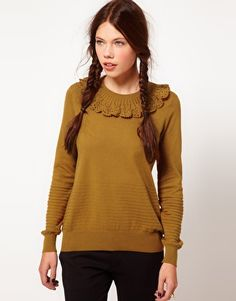 b + ab Crochet Collar Jumper  $131.93  This sweater by B+ab has been made from a stretch cotton-rich knit, with a soft hand feel. The details include: a crew neckline with a wide crochet collar, long sleeves styling with ribbed cuffs, a fine gauge knit and ribbed design. The sweater has a regular fit.