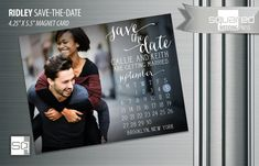 Save the Date Calendar Photo Magnets - Custom designed and printed by @squaredweddingpress and @printableparty. Modern wedding photo magnet cards. Envelopes included #savethedate Lavish Designs. Bespoke Collections. Tailored Just for You.