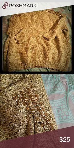 Gold Boutique Sweater with Studs/Chains on Sleeve Never Worn Sweaters Crew & Scoop Necks