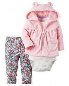 Carter's 3 pcs baby children kids Fleece Cardigan Set sold by Carter's China official store Baby Outfits, Outfits Niños, Little Girl Outfits, Kids Outfits Girls, Toddler Outfits, Newborn Outfits, Cute Baby Boy, Cute Baby Clothes, My Baby Girl