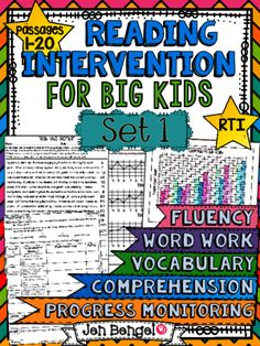 Reading Intervention Program for Big Kids: Set One from Jen Bengel on TeachersNotebook.com -  (151 pages)  - Reading Intervention Program for Big Kids! This resource includes daily intervention lessons for a month! It includes 20 fluency passages, targeted comprehension, word work, and vocabulary!