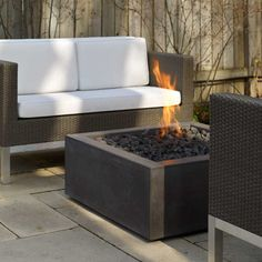 "Bento Modern Outdoor Concrete Fire Pit | CSA CE Certified | Paloform North America UK Europe | Shown in Charcoal concrete with Lava Pebble topping | Available in 36"" & 42"". 