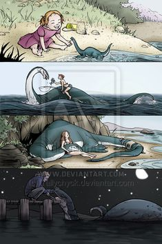 loch ness, dinosour, cute, childhood,time line, lake, shore  , happy feels
