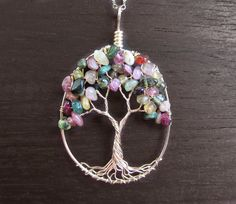 Watermelon Tourmaline Tree of Life Necklace 14k by HomeBabyCrafts
