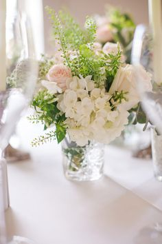 White hydrangeas & roses flower centrepieces   Classic Wedding   Images by Marianne Taylor Photography   http://www.rockmywedding.co.uk/james-katie/