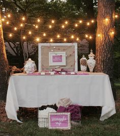 Cute for Backyard Party: Smore Bar, Blankets to snuggle up with and Twinkle lights. Great for Backyard movie night!!!