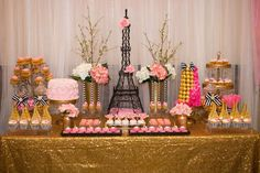 Gorgeous dessert table at a Paris bridal shower party! See more party planning ideas at CatchMyParty.com!