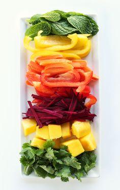 Rainbow Spring Rolls with Ginger Peanut Sauce #vegan #glutenfree | by Minimalist Baker