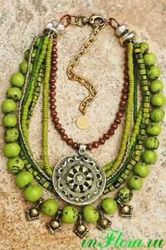 Tibetan-Inspired Green, Copper, Silver Shield Pendant Fringe Necklace - List of the most beautiful jewelry Tribal Jewelry, Bohemian Jewelry, Beaded Jewelry, Jewelry Necklaces, Handmade Jewelry, Beaded Necklace, Green Necklace, Strand Necklace, Statement Necklaces