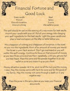 Financial Fortune & Good Luck Spell