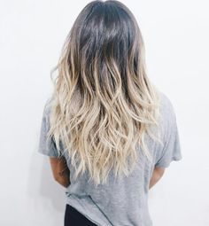 Dark brown to light blonde ombre