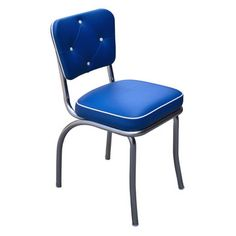 Comercial Budget Bar Stools Retro Button Tufted Dining Chair with Waterfall , x x in., Made in USA, Royal Blue
