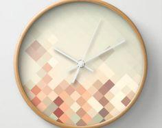Triangle geometric wall clock home decor by MonochromeStudio
