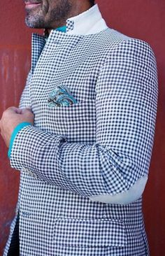 gingham w/ elbow patches