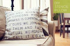 Typographic DIY Stencil Pillow