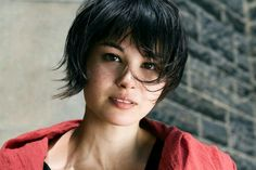 Beauty girl with short hair and freckles