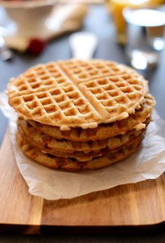Gluten Free Vegan Waffles,,Ingredients 1 1/4 cup almond milk + 1 tsp white or apple cider vinegar 1/4 cup melted vegan butter, such as Earth Balance 1 1/2 tsp pure vanilla extract 2 Tbsp agave nectar or maple syrup 1 cup brown rice flour 1/2 cup gluten free rolled oats 1/2 cup potato starch (not flour) scant 1/4 cup tapioca flour 1 Tbsp flaxseed meal pinch salt 1 1/2 tsp baking powder 2 Tbsp sugar