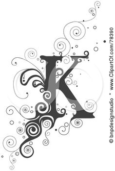 royalty free rf clipart illustration of a vine alphabet letter k by bnp design studio