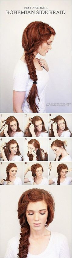 Side Fishtail Tutorial More #EasyBraids #BraidedHairstyle  click for more.