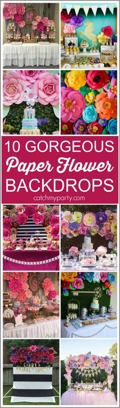 10 Gorgeous Paper Flower Backdrops for baby showers, bridal showers, weddings, birthdays, and more! | Catchmyparty.com