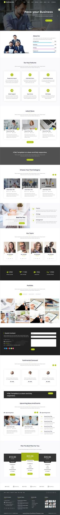 Business Arc is clean and modern design 4in1 responsive #HTML5 bootstrap #template for business #agency website to live preview & download click on Visit