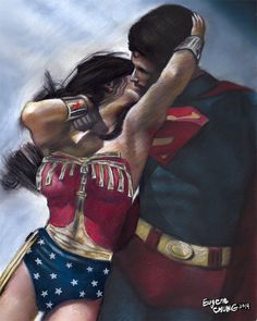 "wonder woman & superman painting, poster, print, marvel, comics poster, pastel drawing by eugene, reproduction, 16""x20"",22.4""x28"""