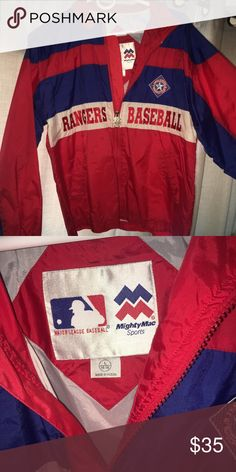 7ba7b7c97 Texas MLB Rangers baseball vintage Windbreaker Used normal wear in GREAT  condition. size L in boys but can fit a small Medium in women and can fit  size ...