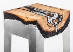 Natural wood + molten aluminum = incredible furniture http://inhabitat.com/hilla-shamias-dramatic-aluminium-cast-tree-trunk-furniture/