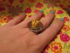 Swan Cream Puff Ring by MegEMays on Etsy, $8.00