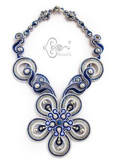 """Moonflower"" Bead Dreams 2016 - ソウタシエ・ネックレス Soutache Necklace by KaoriNa."