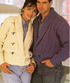 """womens / mens aran jackets knitting pattern PDF ladies shawl collar cardigan embroidered flowers 32-46"""" aran worsted 10ply Instant Download by Hobohooks on Etsy"""