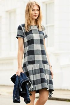 Buy Navy Check Asymmetric Dress online today at Next: United States of America