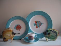 Limoges porcelain, collection dinner ware, cups and saucers, coffee sets, plates, for boats or seaside house! mix and match of different tropical fishes, borders hand painted blue sea  waves...