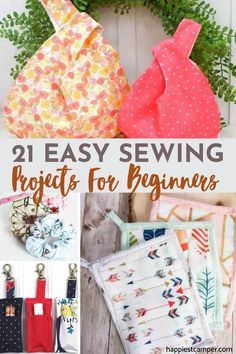 Bored because you are stuck at home with nothing to do? Put your sewing machine to work with these 21 fun yet easy to do DIY sewing projects for beginners! Simple sewing projects like knot bags, pot holders, scrunchies, even Chapstick holders and much more. Many of these Easy Sewing projects take less than 30 minutes so you can make several in one sitting. These are perfect for someone just starting to sew. Start today and make on of the 21 Easy Sewing Projects For Beginners Diy Sewing Projects, Sewing Projects For Beginners, Diy Craft Projects, Sewing Tutorials, Sewing Crafts, Craft Ideas, Diy Crafts, Sewing Essentials, Fabric Coasters