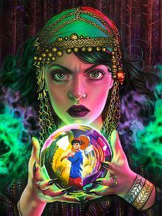 """Mystic Searches"" by Morgan Davidson Fantasy Kunst, Fantasy Art, Pencil Art, Pencil Drawings, Portfolio D'art, Illustrations, Illustration Art, Magia Elemental, Gypsy Fortune Teller"
