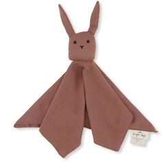 The perfect cuddly toy for your little one in beautiful Cedar Wood colourway. This sleepy rabbit comforter toy is made from oh so soft cotton by Konges Slojd and filled with organic Kapok. Muslin Fabric, Kind Mode, Baby Quilts, Cuddling, Comforters, Organic Cotton, Rabbit, Creations, Bunny