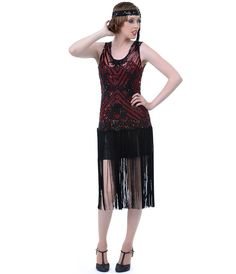 1920s style flapper dress | 1920s Style Black & Red Beaded Rosalie Flapper Dress ... | Vintage At ...