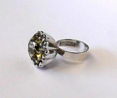 Huge Citrine Lemon Quartz Erik E Granit & Co Finland Sterling Silver Ring 925