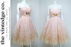 1950's Pink Floral Velvet Petal Cocktail Prom by thevintedgeco, $485.00